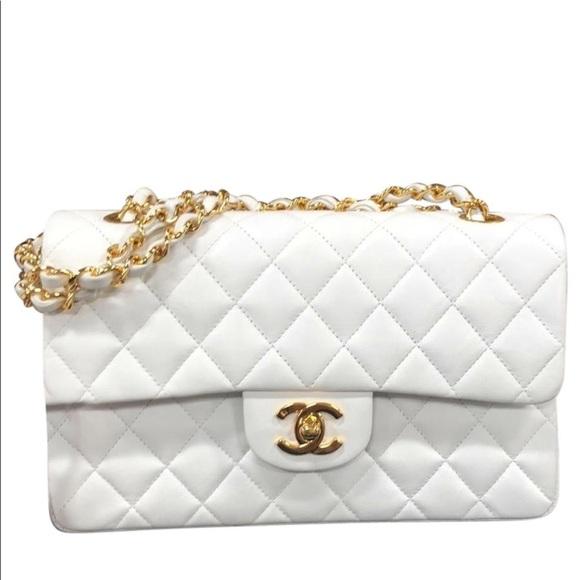 e7b998887db694 CHANEL Handbags - Chanel 2.55 white lambskin gold chain